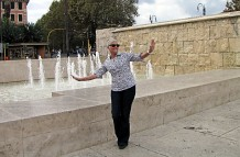 Nancie by the Ara Pacis fountain, Rome